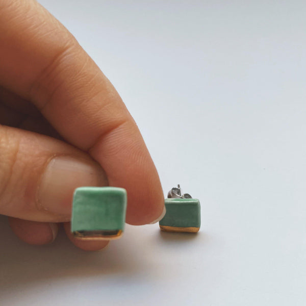 square jade and gold dipped ceramic studs