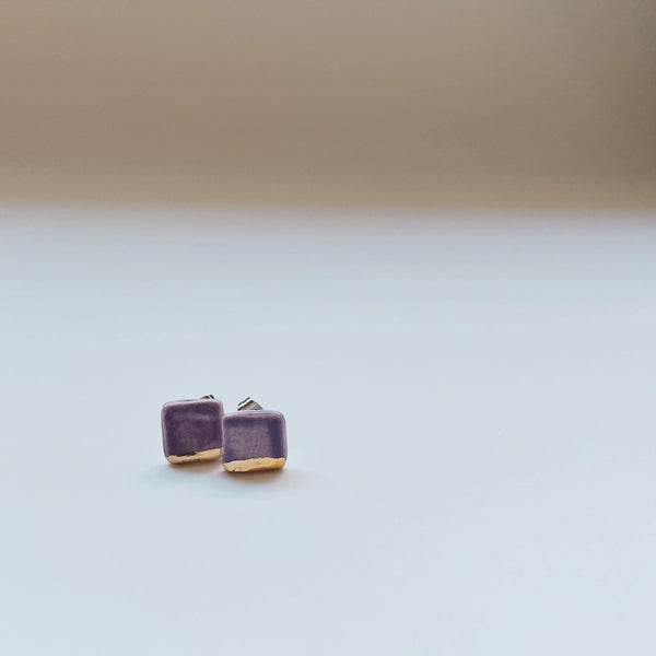 square Lavender and gold dipped ceramic studs
