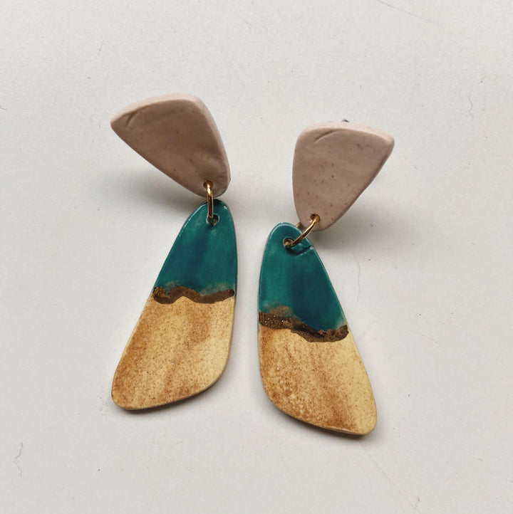 color block ceramic earrings