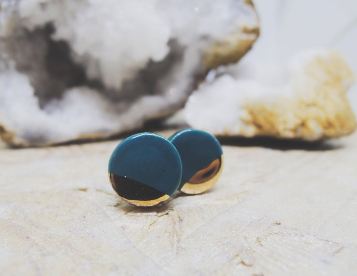 Teal and gold dipped earrings - gloriafaye