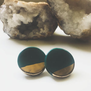 Large Circle Dipped Studs - gloriafaye
