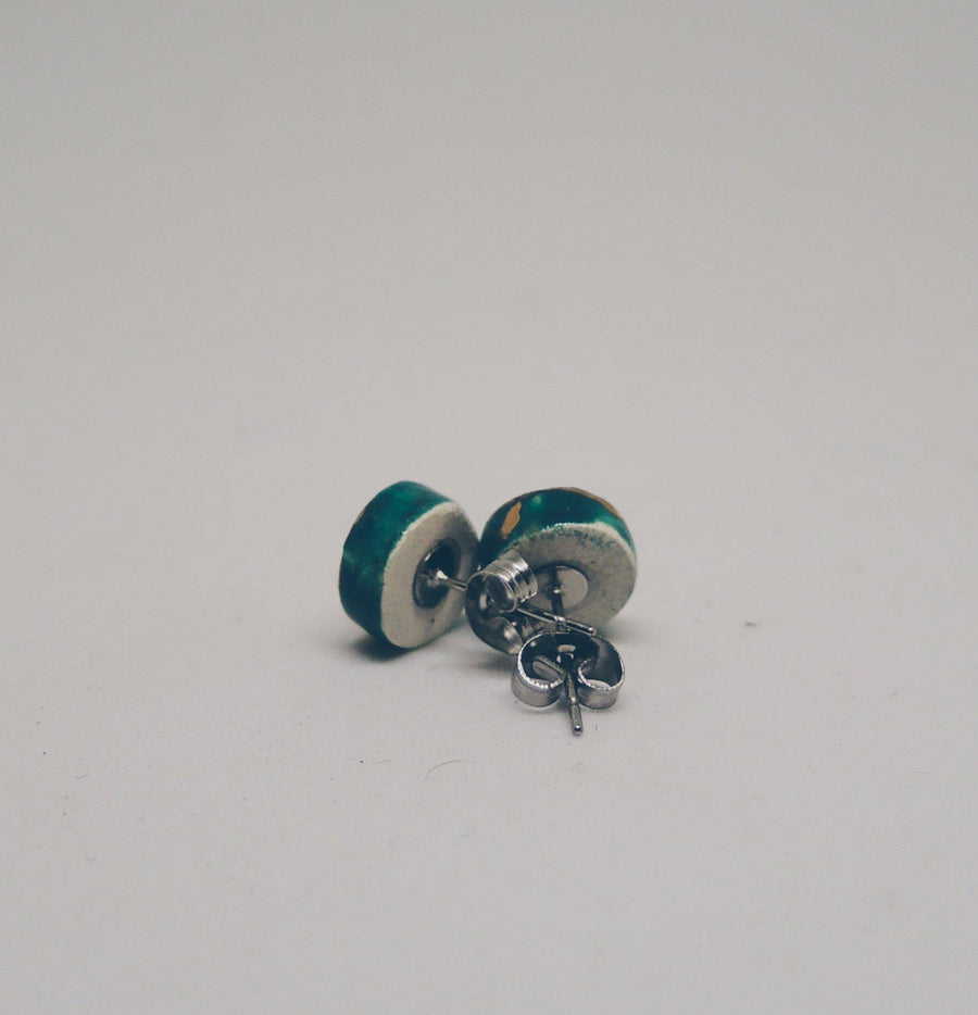 Teal and Gold Stud Earrings - gloriafaye