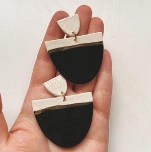 black and white large ceramic earrings