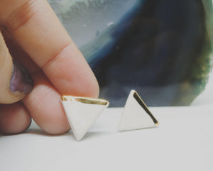 Triangle Gold Dipped Studs - gloriafaye
