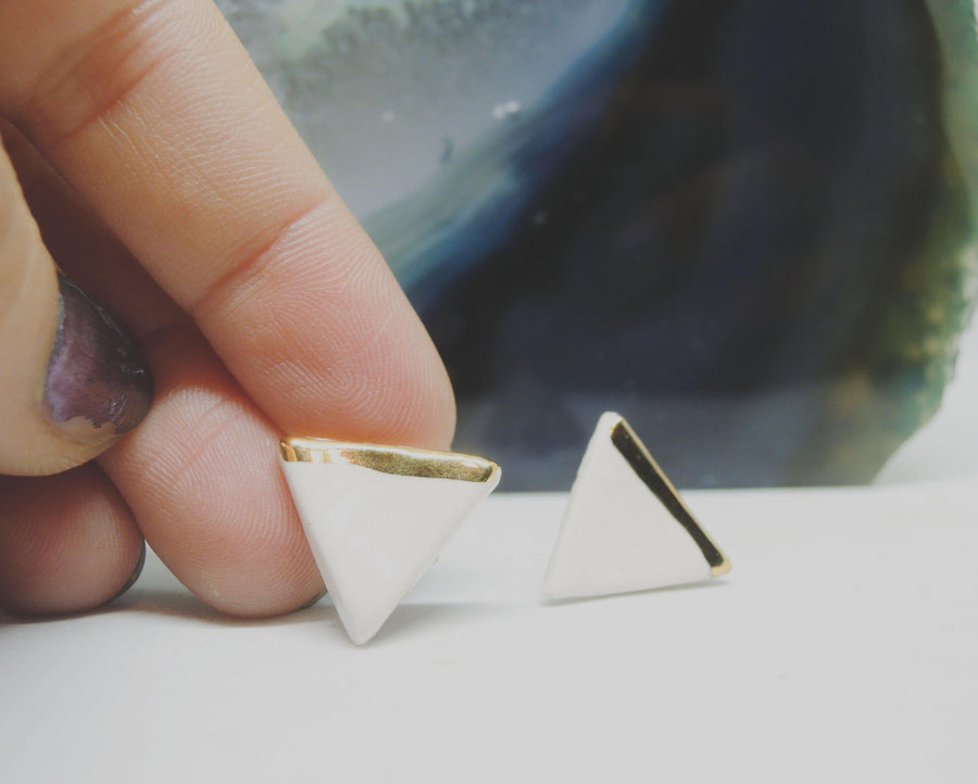 Ivory + Gold Triangle Studs - gloriafaye