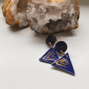 cobalt triangle ceramic earrings