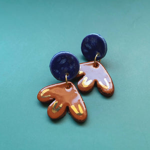 small terra cotta and blue ceramic earrings