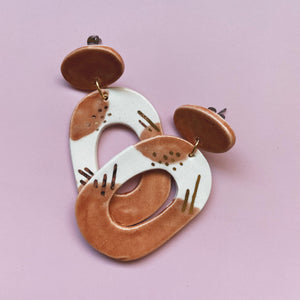 peach and gold ceramic earrings