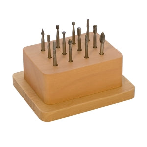 WAX BUR SET IN WOODEN STAND 12PC-Transcontinental Tool Co