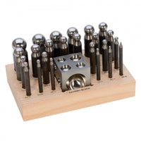 24PC DAPPING PUNCH SET W/BLOCK 2.3 TO 25MM-Transcontinental Tool Co