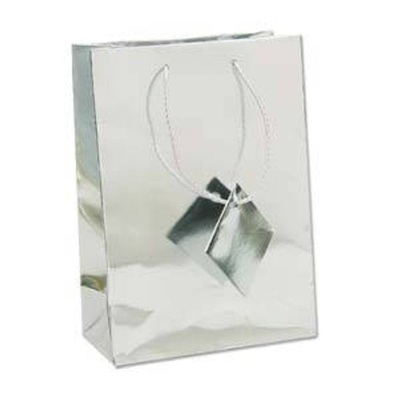 SHOPPING TOTE- MEDIUM- GLOSSY SILVER 10PCS-Transcontinental Tool Co