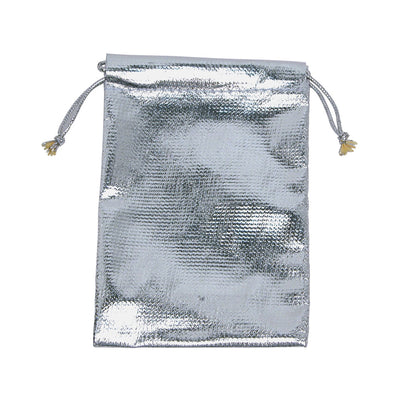 METALLIC SILVER DRAWSTRING POUNCH 3X4