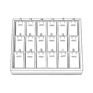 STACKABLE PENDANDT/ EARRING TRAY 18 SLOT WHITE-Transcontinental Tool Co