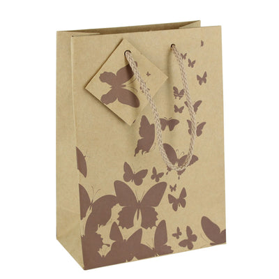 SHOPPING TOTE- MEDIUM- COFFEE BUTTERFLY KRAFT 10PCS-Transcontinental Tool Co