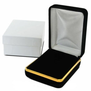 VELVET PENDANT / EARRING BOX WITH GOLD TRIM - 12 PCS-Transcontinental Tool Co