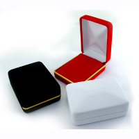 VELVET PENDANT / EARRING BOX WITH GOLD TRIM - RED 12 PCS-Transcontinental Tool Co