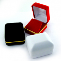 PENDANT/EARRING BOX W/GOLD TRIM - BLACK 12 PCS-Transcontinental Tool Co