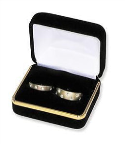VELVET DOUBLE RING BOX W/GOLD TRIM - 12 PCS-Transcontinental Tool Co