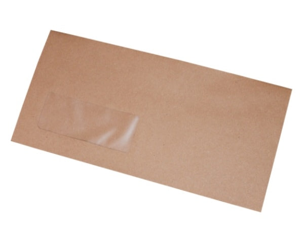 114x235mm DL+ Manilla Gummed Envelopes (Window 35x90mm) - Box of 1000 - Intrinsic Paper Straws