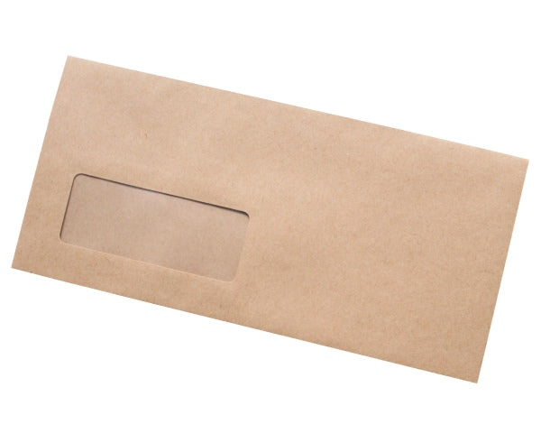 111x235mm DL+ Manilla Gummed Envelopes (Window 35x90mm) - Box of 1000 - Intrinsic Paper Straws