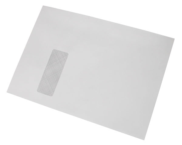 229x324mm C4 White Gummed Envelopes (Window 105x40mm) - Box of 250 - Biodegradable / Eco-Friendly / Food Safe - Intrinsic Paper Straws