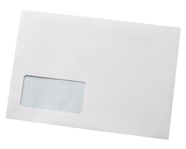 162x235mm C5+ White Gummed Envelopes (Window 45x90mm / 20mm left, 20mm up) - Box of 500 - Biodegradable / Eco-Friendly / Food Safe - Intrinsic Paper Straws