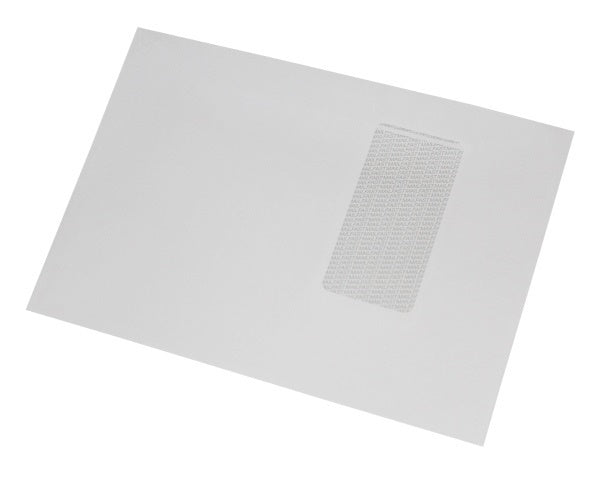 162x235mm C5+ White Gummed Envelopes (Window 90x45mm / 140mm left, 50mm up) - Box of 500 - Biodegradable / Eco-Friendly / Food Safe - Intrinsic Paper Straws