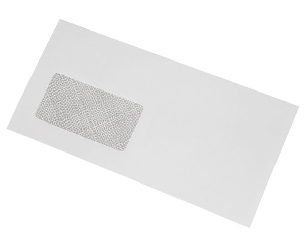 114x235mm DL+ White Gummed Envelopes (Window 45x90mm) - Box of 1000 - Biodegradable / Eco-Friendly / Food Safe - Intrinsic Paper Straws