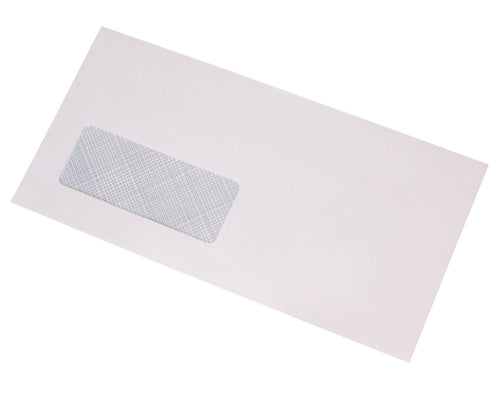 110x220mm DL White Self Seal Envelopes (Window 35x90mm) - Box of 1000 - Biodegradable / Eco-Friendly / Food Safe - Intrinsic Paper Straws