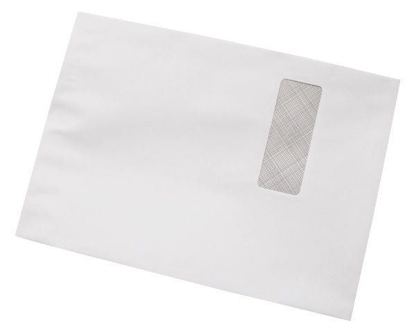 324x229mm C4 White Gummed Envelopes (Window 40x105mm) - Box of 250 - Biodegradable / Eco-Friendly / Food Safe - Intrinsic Paper Straws