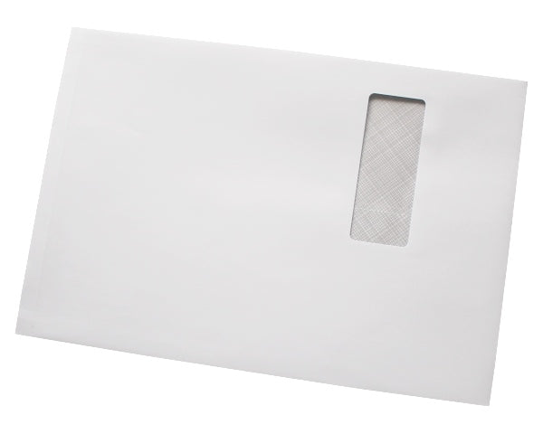 324x229x25mm C4 White Peel & Seal Gusset Envelopes (Window 40x105mm) - Box of 125 - Intrinsic Paper Straws