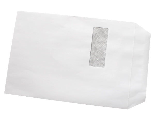 324x229mm C4 White Self Seal Envelopes (Window 40x105mm) - Box of 250 - Biodegradable / Eco-Friendly / Food Safe - Intrinsic Paper Straws
