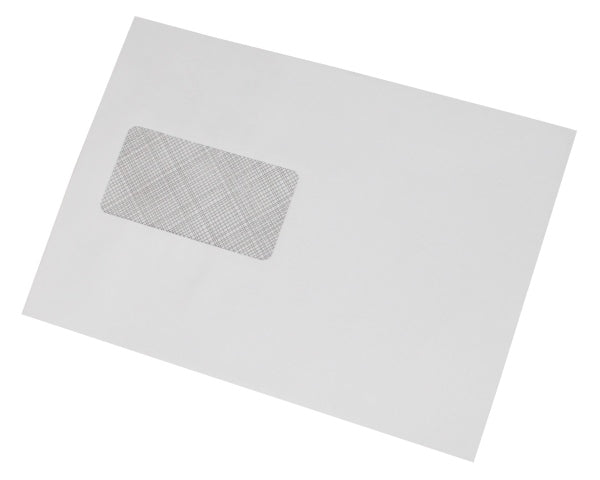 162x229mm C5 White Gummed Envelopes (Window 45x90mm / 20mm left, 60mm up) - Box of 500 - Biodegradable / Eco-Friendly / Food Safe - Intrinsic Paper Straws