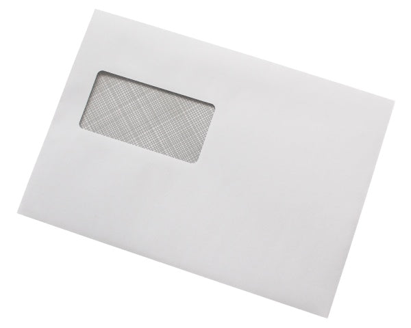 162x229mm C5 White Gummed Envelopes (Window 45x90mm / 20mm left, 72mm up) - Box of 500 - Biodegradable / Eco-Friendly / Food Safe - Intrinsic Paper Straws