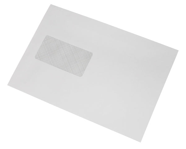 162x238mm C5+ White Gummed Envelopes (Window 45x90mm / 20mm left, 60mm up) - Box of 500 - Biodegradable / Eco-Friendly / Food Safe - Intrinsic Paper Straws