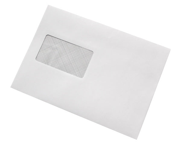 162x229mm C5 White Gummed Envelopes (Window 50x90mm) - Box of 500 - Biodegradable / Eco-Friendly / Food Safe - Intrinsic Paper Straws
