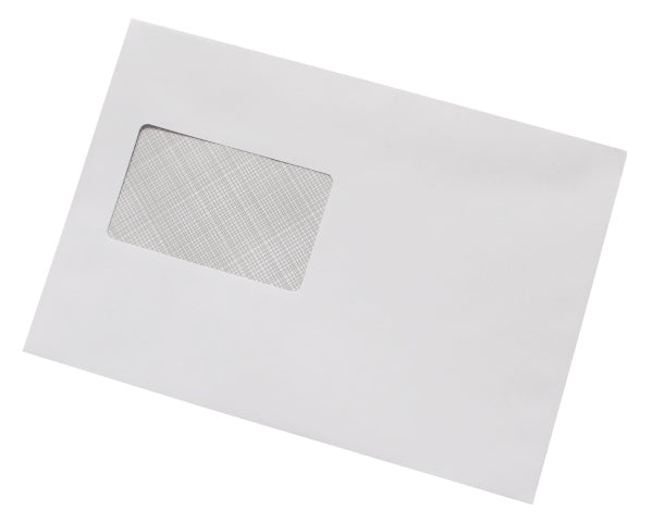 162x235mm C5+ White Gummed Envelopes (Window 55x90mm) - Box of 500 - Biodegradable / Eco-Friendly / Food Safe - Intrinsic Paper Straws