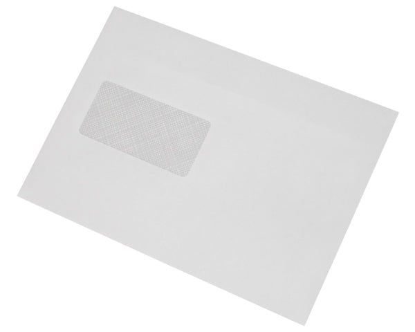 162x229mm C5 White Self Seal Envelopes (Window 45x90mm) - Box of 500 - Biodegradable / Eco-Friendly / Food Safe - Intrinsic Paper Straws