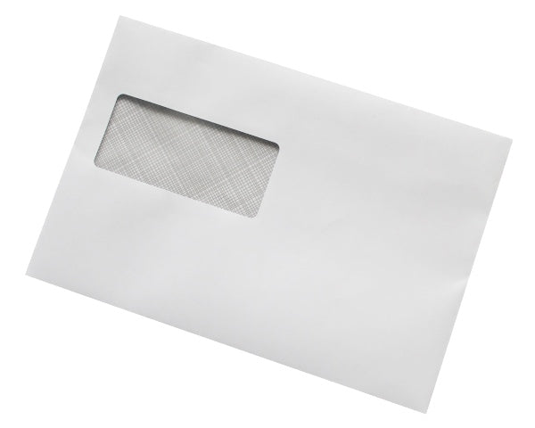162x238mm C5+ White Gummed Envelopes (Window 45x100mm / 15mm left, 72mm up) - Box of 500 - Biodegradable / Eco-Friendly / Food Safe - Intrinsic Paper Straws