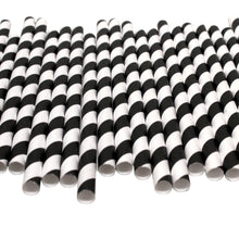 Load image into Gallery viewer, Black & White Striped Paper Straws (10mm x 200mm) - Biodegradable / Eco-Friendly / Food Safe - Intrinsic Paper Straws