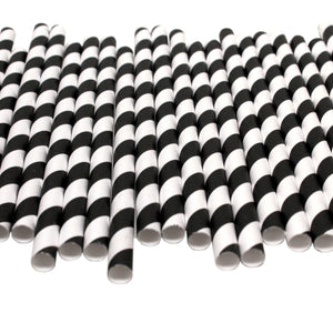 Black & White Striped Paper Straws (10mm x 200mm) - Biodegradable / Eco-Friendly / Food Safe - Intrinsic Paper Straws