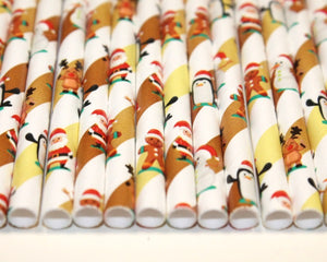 Christmas Characters Paper Straws (6mm x 200mm) - Biodegradable / Eco-Friendly / Food Safe - Intrinsic Paper Straws
