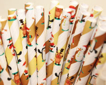 Load image into Gallery viewer, Christmas Characters Paper Straws (6mm x 200mm) - Biodegradable / Eco-Friendly / Food Safe - Intrinsic Paper Straws