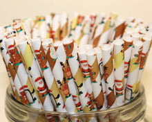 Load image into Gallery viewer, Christmas Characters Paper Straws (6mm x 200mm) - Intrinsic Paper Straws