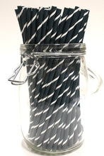 Load image into Gallery viewer, Carbon Fibre Effect Paper Straws (6mm x 200mm) - Biodegradable / Eco-Friendly / Food Safe - Intrinsic Paper Straws