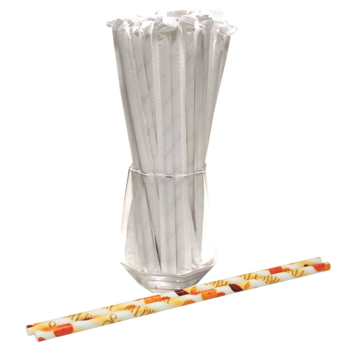 Individually Wrapped Diwali Paper Straws (6mm x 200mm) - Biodegradable / Eco-Friendly / Food Safe - Intrinsic Paper Straws