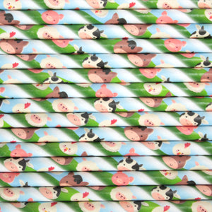 Farm Animals Paper Straws (6mm x 200mm)