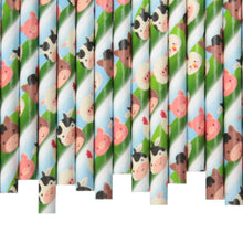 Load image into Gallery viewer, Farm Animals Paper Straws (6mm x 200mm)