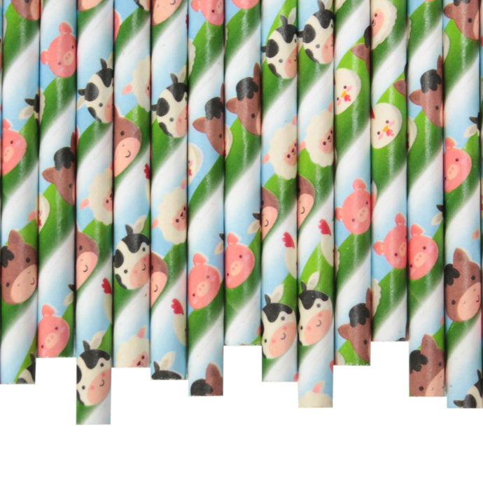 Farm Animals Paper Straws (6mm x 200mm) - Biodegradable / Eco-Friendly / Food Safe - Intrinsic Paper Straws
