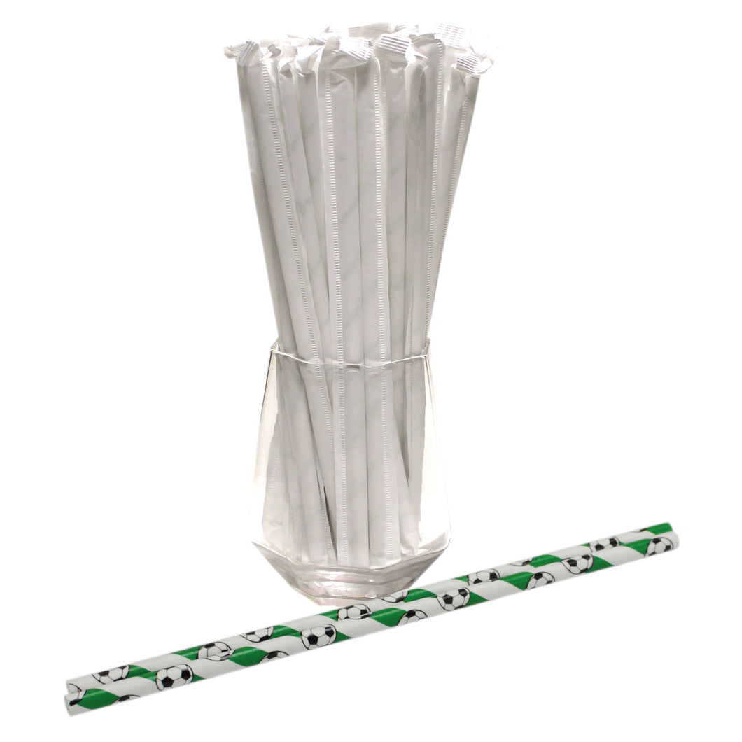 Individually Wrapped Football Paper Straws (6mm x 200mm) - Intrinsic Paper Straws